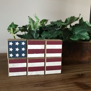USA Americana Wood Cube Flag New